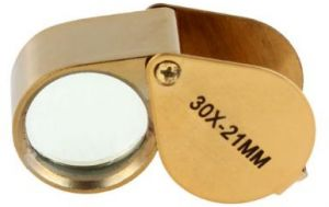 30X 21mm Jewelry Magnifying Glass Loupe Magnifier--Golden