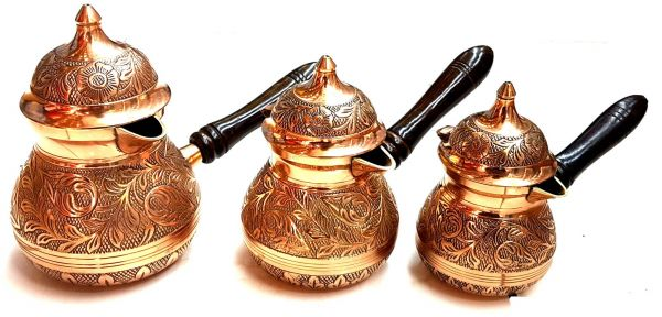 Engraved Turkish Arabic Coffee Warmer 3 Pieces Set Brass معدات