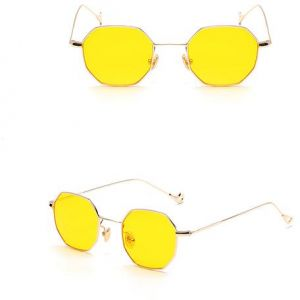 b546036123 sauqre shaped sunglasses in gold frame yellow lens for unisex