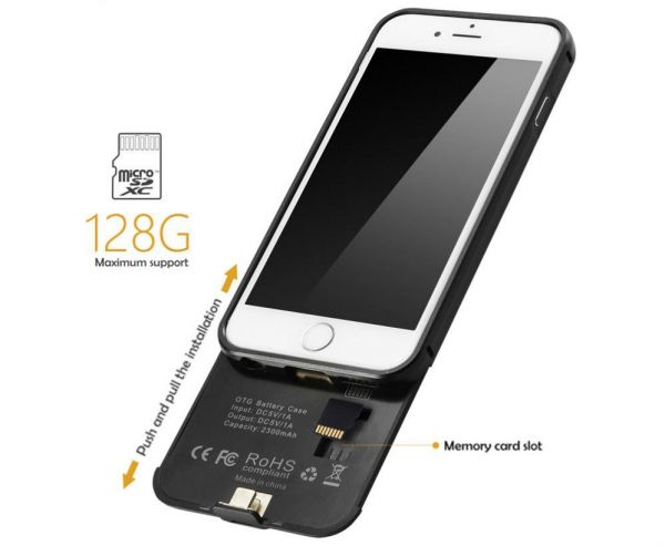 meet 1598a fbab3 iPhone 6 6S memory battery case, battery case with TF/SD Card Slot ...