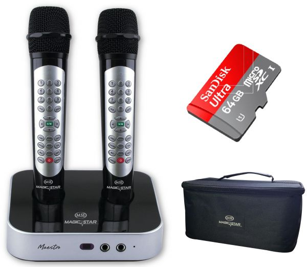 MAGIC STAR Maestro Wireless Karaoke 64gb SD Card + Carry bag