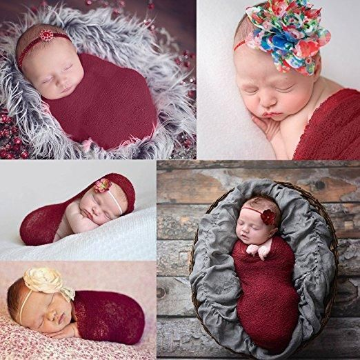 1af9d36276d Newborn Baby Stretch Wrap Photo Props Wrap-Baby Photography Props (Wine  Red)