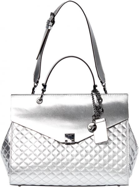 Guess Rochelle Top Handle Satchel Bag for Women - Silver   Bags ... 360a1f9193