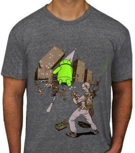 5bb302bdd87 Andy vs Steve jobs Android vs apple ghost busters godzilla style size  Medium american apparel t-shirt
