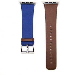 Apple Watch Band Genuine Leather iWatch Strap for Apple Watch Series 2 Series 1, 38mm - Hit color Brown&Blue