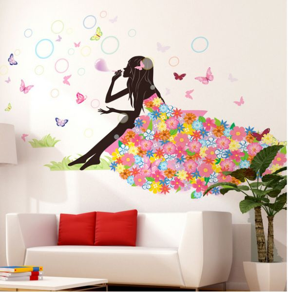 Carton Panting Living Room Wall Stickers Sofa Background Wall Papers