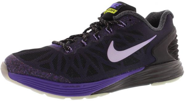 best website 4ffa9 8c4b6 Nike Lunar Glide 6 Running Shoes for Girls, Black White Hyper Grape Fierce  Green
