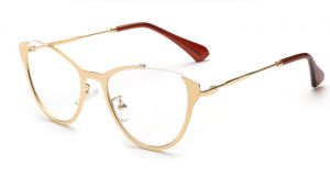 49908470a43 Sunglasses Fashion women Half metal Gold frames Cat eye glasses Clear lens