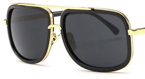 16c0beaf02b1 Mach Oversized Square Aviator Gold Metal Bar Men Sunglasses - Black | KSA |  Souq
