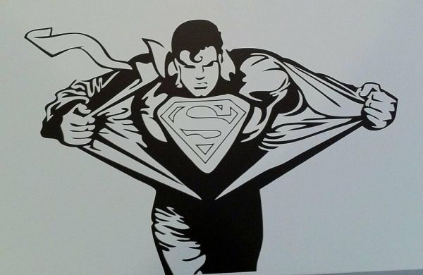 superman wall decals for bedroom, home decor, waterproof wall