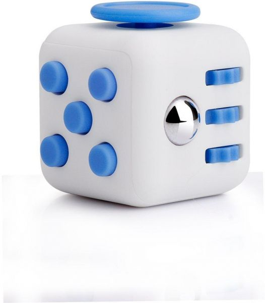 Ruvince Fidget Cube Toy Relieves Stress, Anxiety for Children and Adults (White & Blue)