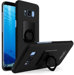 IMAK Samsung Galaxy S8 Plus - Cowboy Matte Frosted Hard Phone Case Cover With Ring Stand Holder And Vehicle Hook -Black