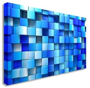 Abstract Blue Squares 3D Wall Picture Canvas Prints Art Cheap 12x16 inches