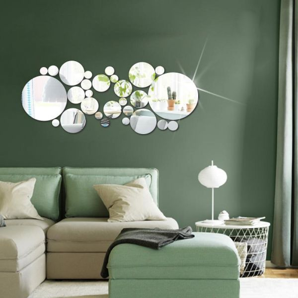 Fashion New Removable Silver Round Mirror Style Art Wall Stickers Decal Mural Home Decor