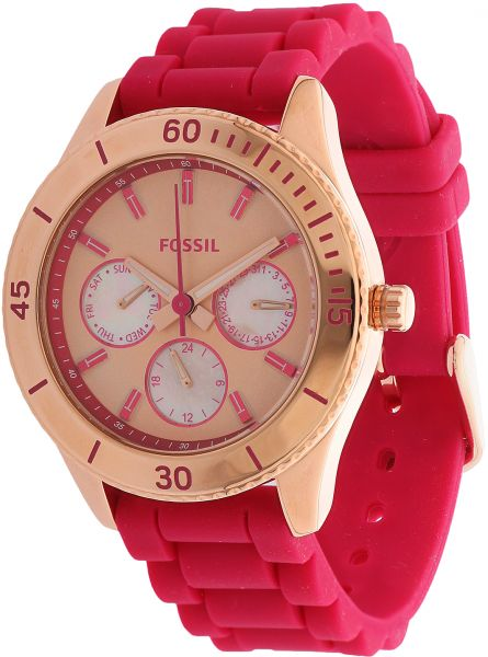 1e0fc12a549a Fossil Stella Women s Gold Dial Silicone Band Watch - ES3535