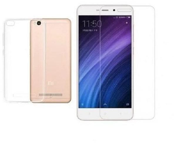 competitive price 063f6 2a760 Xiaomi RedMi 4A Tempered Glass Screen Protector with Clear back Cover