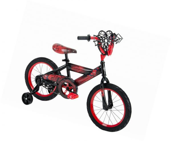 Huffy Spiderman Bike With Web Cage For Kids 16 Inch Red 21966a