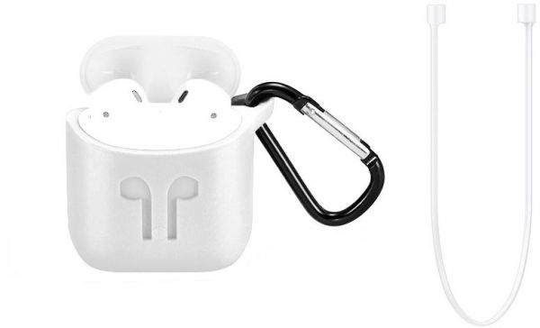 huge selection of 30f16 60d24 For Apple AirPod Case Protective Silicone Charging Cover Hanging Pouch Case  with Lanyard - White