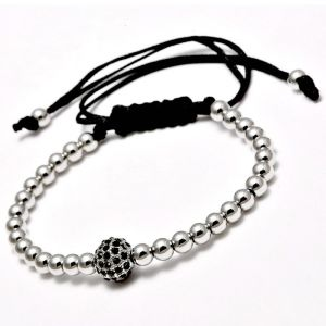 New Black Cz Beads Ball Braiding