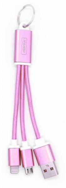 X-HANZ 2.4A fast key ring data cable for all phones - Rose
