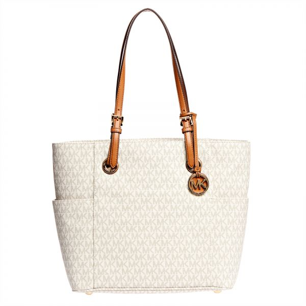 Michael Kors Jet Set Monogram Tote Bag for Women - Vanilla  b8eac0db59099