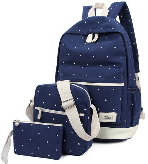 dc190bff18 Wave point three pieces school bag college style backpack fashionable  rucksack BB036-deep blue