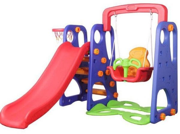 Fitness World 3 In 1 Swing And Slide With Basketball Game Multi