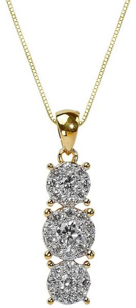 Pure gold jewellers womens 18k gold 3 head illusion small diamond pure gold jewellers womens 18k gold 3 head illusion small diamond pendant aloadofball Choice Image