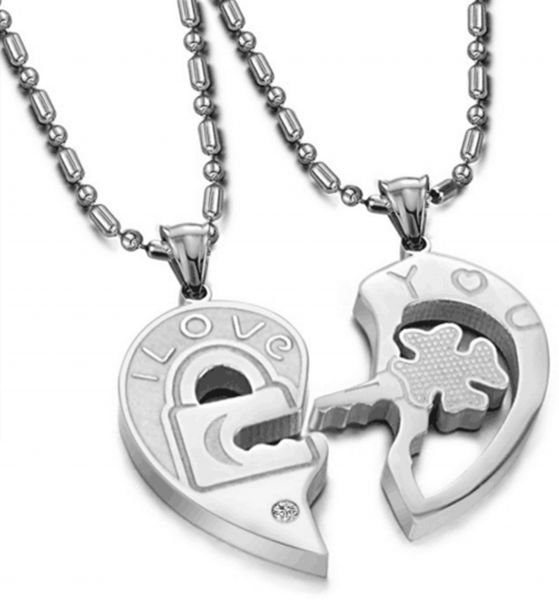 a0c4960eb0 His and Hers Couples Necklaces - Titanium Stainless Steel Cute Matching  Relationship Necklace | KSA | Souq