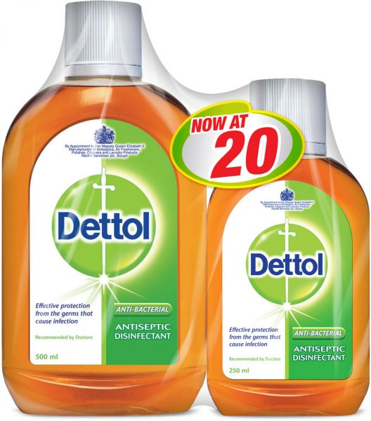 9c3fc6546f8b Dettol Antiseptic Disinfectant - Pack of 2 Pieces (500ml + 250ml ...
