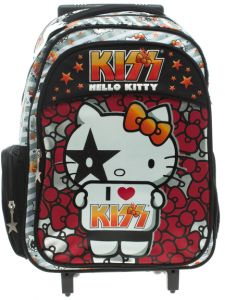 Sanrio Hello Kitty Kiss 45932 School Bag with Double Handle Trolley, 17