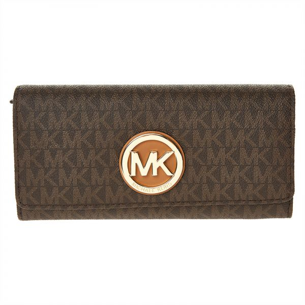 e70022a563631e Michael Kors Fulton Monogram Bifold Wallet for Women - Brown Price ...