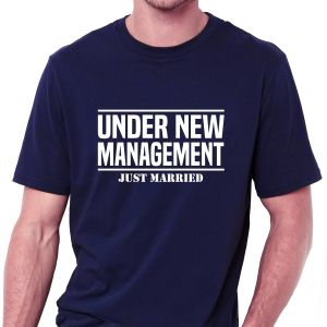 1ab5b702764d Under New Management Just Married Navy Blue Round Neck T-Shirt For Men