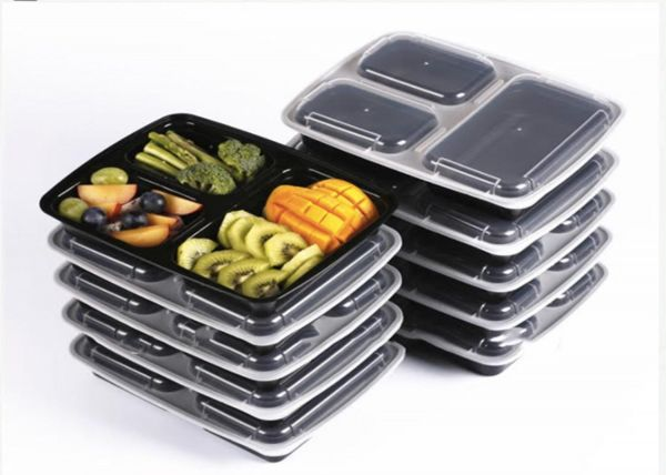 Fitware 10 Pack 3 Compartment Food Storage Tupperware Bento Lunch Boxes  With Lids   Stackable, Reusable, Microwave, Dishwasher U0026 Freezer Safe    Meal Prep, ...