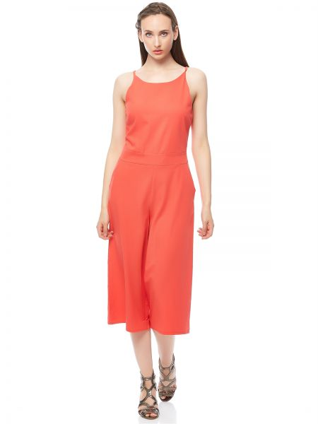 99ae89ee564 Buy Wal G Solid Cullotes Strap Jumpsuit for Women - Coral in UAE