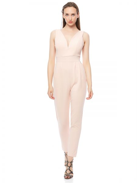2c8fc7308cb Wal G Solid V Neck Padded Jumpsuit for Women - Pastel Pink Price in ...
