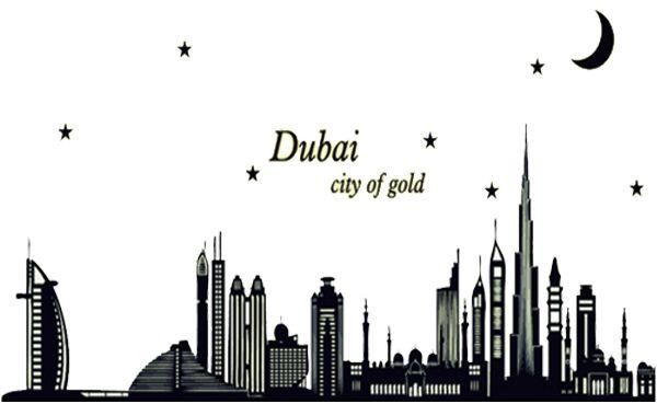 Glow in the Dark Luminous Night Dubai City Vinyl Removable Mural Home Decor  DIY Wall Stickers