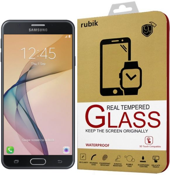 For Samsung Galaxy J7 Prime Rubik Gold Edge Full Curved 3D Tempered Glass .