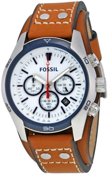 53a334380 سعر Fossil CH2986 Coachman Chronograph Dial Tan Leather Men's Watch ...