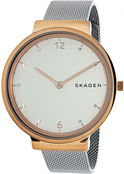 Skagen Ancher Womens White Dial Stainless Steel Plated Band Watch - SKW2616
