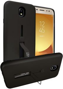 Samsung Galaxy J5 Pro Matte Shockproof Ring Stand PC + TPU Back Case Cover - Black