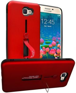 Samsung Galaxy J5 Prime Matte Shockproof Ring Stand PC TPU Back Case Cover - Red