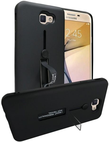 promo code 9933d e6191 Samsung Galaxy J7 Prime Matte Shockproof Ring Stand PC TPU Back Case Cover  - Black