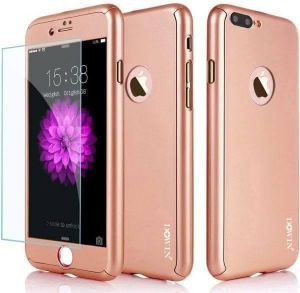 360 Degree All-round Protective Slim Fit Case Cover with Tempered Glass Screen Protector Skin for Apple iPhone 6/6S 4.7 Inch rose gold