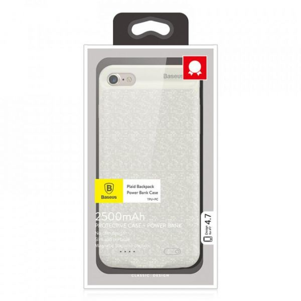 info for b515b a9eec Iphone 7 plus Plaid Backpack Power Bank Case 3650MAH off white Price ...