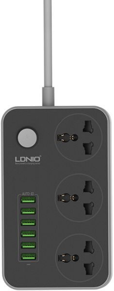 Ldnio Sc3604 Power Strip With 3 Ac Sockets + 6 Usb Ports‎ - Grey
