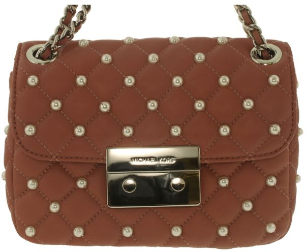 d09a634ce680 Michael Kors Small Pearls Sloan Crossbody Bag for Women - Leather, Brown