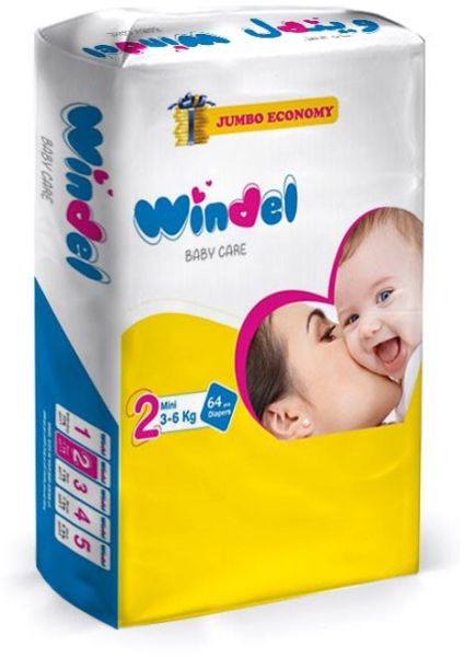 Windel Diapers, 64 pieces, size 2