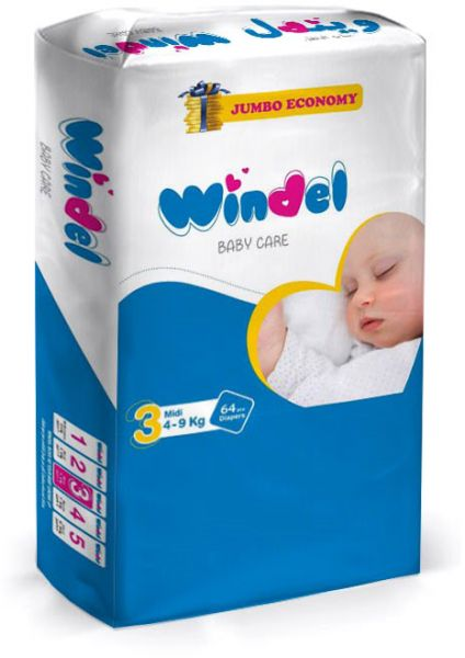 Windel Diapers, 64 pieces, size 3