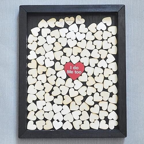 Wood frame with Heart Shape Guestbook Wood Slices Mini Message Board